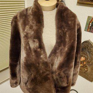 Vintage taupe,  mouton fur coat